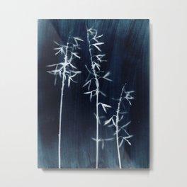 Indigo Hosta Botanical Cyanotype Metal Print
