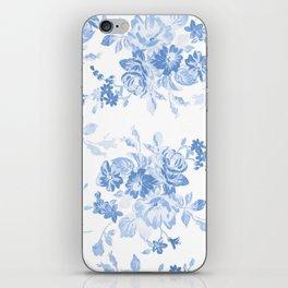 Modern navy blue white watercolor elegant floral iPhone Skin