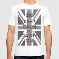 Keep Calm and Carry On UK - Purple/Grey MEDIUM Mens Fitted Tee White
