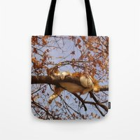 gondor Tote Bags featuring Cat on a tree by Augustinet