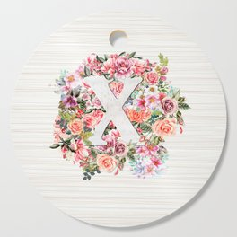 Initial Letter X Watercolor Flower Cutting Board