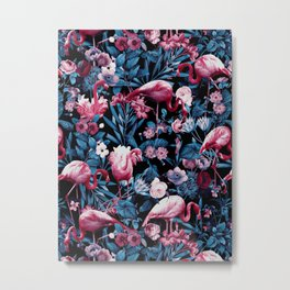 Floral and Flamingo VIII Metal Print