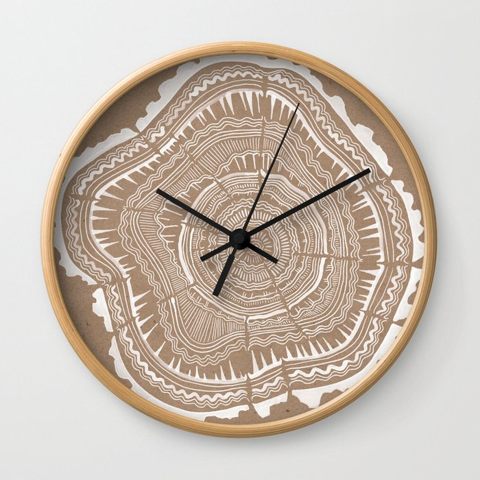 Tree Rings – White Ink on Kraft Wall Clock