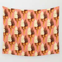 novelty Wall Tapestries featuring Ice Cream Pattern - Pink by Kelly Gilleran