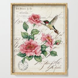 Vintage Roses Print Hummingbird Art Love Quote Rustic Decor Valentine Gift Serving Tray