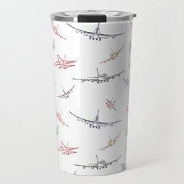 Colorful Plane Sketches Travel Mug