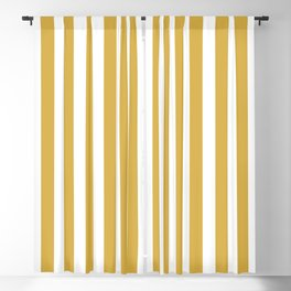 Large Mustard Yellow and White Cabana Tent Stripe Blackout Curtain