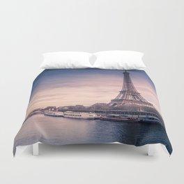 Eiffel Tower Sunset Duvet Cover