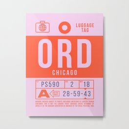 Luggage Tag B - ORD Chicago USA Metal Print