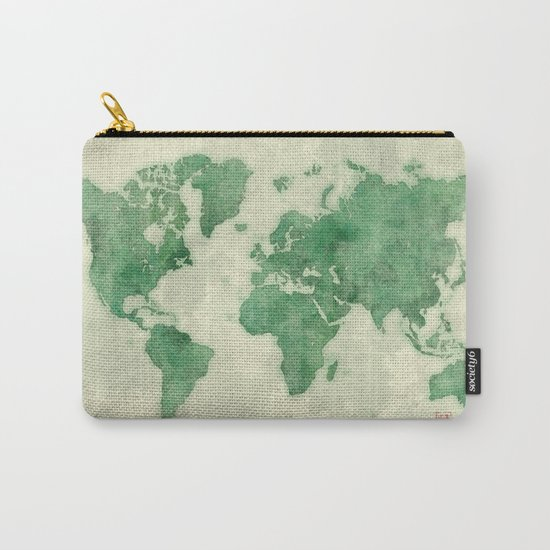World Map Green Carry-All Pouch