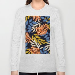 Original seamless tropical pattern with bright leaves and plants on a dark background. Tropic leaves in bright colors. Beautiful seamless vector floral pattern. Tropical botanical. Long Sleeve T-shirt
