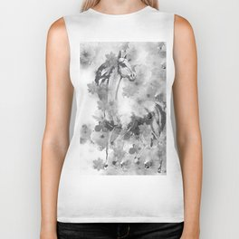 HORSE AND CHERRY BLOSSOMS IN BLACK AND WHITE Biker Tank