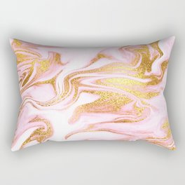 Rose Gold Marble Agate Geode Rectangular Pillow