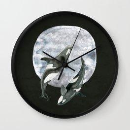 orcas' moon dance Wall Clock