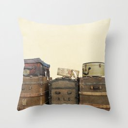 Steamer Trunks and Vintage Luggage Throw Pillow