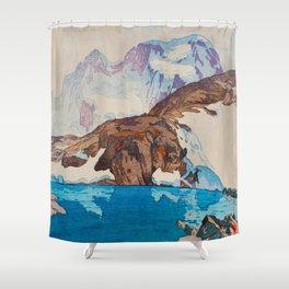 Yoshida Hiroshi Breithorn 1925 Vintage Beautiful Japanese Woodblock Print Hiroshi Yoshida Shower Curtain