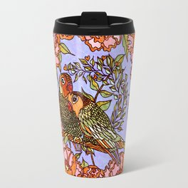 Lovebirds With Peony Wreath Travel Mug