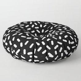 Bingo - black and white sprinkle retro modern pattern print monochromatic trendy hipster 80s style Floor Pillow