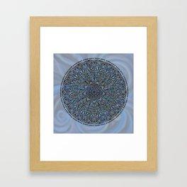 Circle of Life Mandala full color on blue swirl Framed Art Print