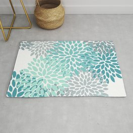 Floral Pattern, Aqua, Teal, Turquoise and Gray Rug