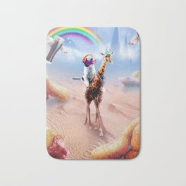 Cat Riding Giraffe With Chicken Nuggets And Cola Bath Mat