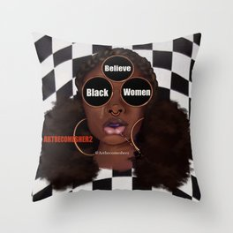Believe Black Women Throw Pillow