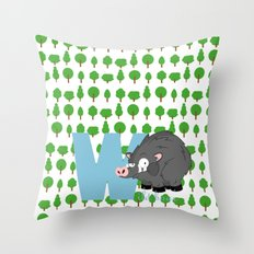 w for wild boar Throw Pillow
