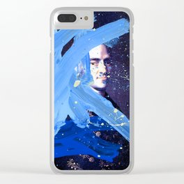 Blue Explosion Clear iPhone Case
