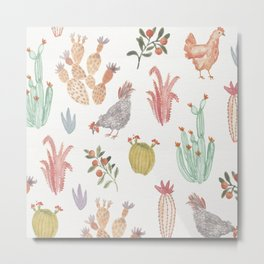 Watercolor Chicken and Cacti Metal Print