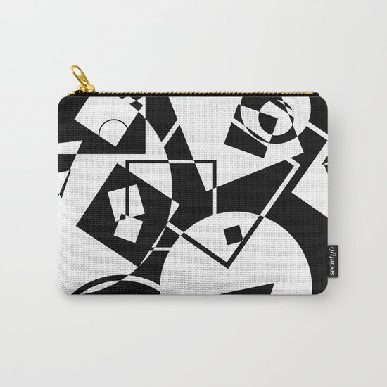 Simply Black And white - Abstract, geometric, retro, black and white random pattern Carry-All Pouch