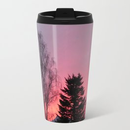 Sunset over snow capped Cumbrian Mountains Travel Mug
