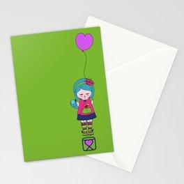 Kokoro Flower balloon - green Stationery Cards