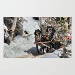 Horse Drawn Wintery Sleigh Ride Rug