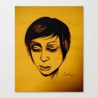 caitlin hackett Canvas Prints featuring Caitlin by Genevieve Koberstein