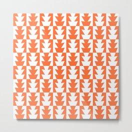 Art Deco Jagged Edge Pattern Orange Metal Print