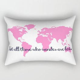 Tolkien Quote + Bright Pink World Map Rectangular Pillow
