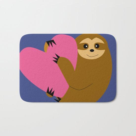 Sloth in love blue Bath Mat