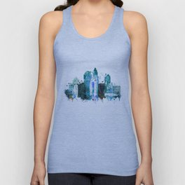 Charlotte Skyline watercolor Unisex Tank Top