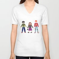 hermione V-neck T-shirts featuring Harry, Hermione, and Ron by Janna Morton