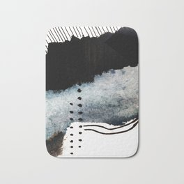 Closer - a black, blue, and white abstract piece Bath Mat