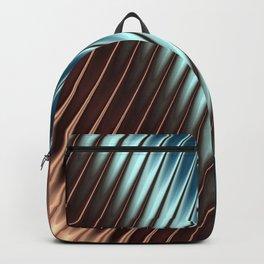 Stripey Pins Teal & Taupe - Fractal Art Backpack