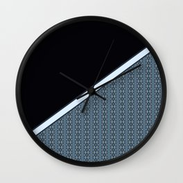 Half Dark and Half Abstract Steel Grey Geometric Striped Pattern Wall Clock
