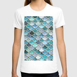 Multicolor Aqua Mermaid Scales - Beautiful Abstract Glitter Pattern T-shirt