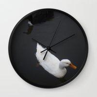 ducks Wall Clocks featuring Ducks by Kameron Elisabeth