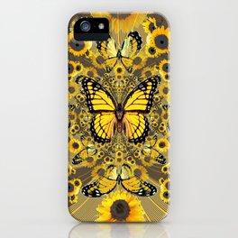 BLACK-GOLD MONARCHS SUNFLOWER ART iPhone Case