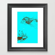 the monster and the floating mountains Framed Art Print
