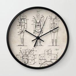 Parachute Pack Patent - Sky Diving Art - Antique Wall Clock