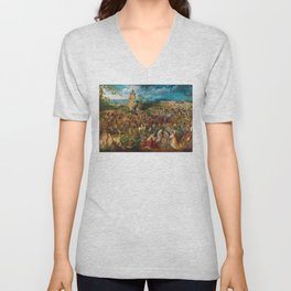 The Procession to Calvary by Pieter Bruegel the Elder (1564) Unisex V-Neck