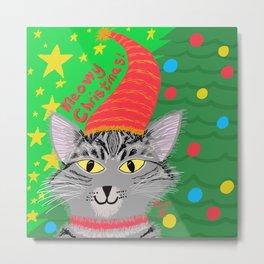 Christmas Cat Long grey tabby Yellow Eyes Metal Print