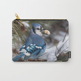 Christmas Blue Jay Carry-All Pouch